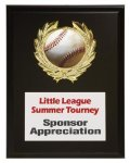 Matte Black Finish Plaque Baseball Trophy Awards