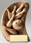Curve Action Series Sculpted Antique Gold Bowling Resin Trophy  Bowling Trophy Awards