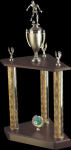 3 Column Wood base trophy Sports Trophies
